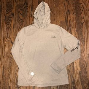 Vineyard Vines Boys Yth XL (18) Gray Hooded Shirt